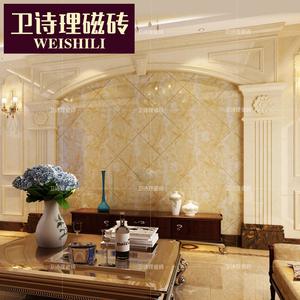 欧式客厅电视瓷砖背景墙边框线条仿大理石罗马柱背景墙护墙板定制