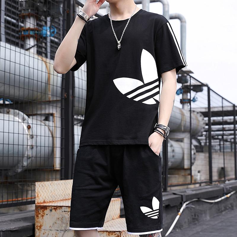 2020款青少年短袖t恤男夏季宽松纯棉休闲潮流运动短裤套装篮球服