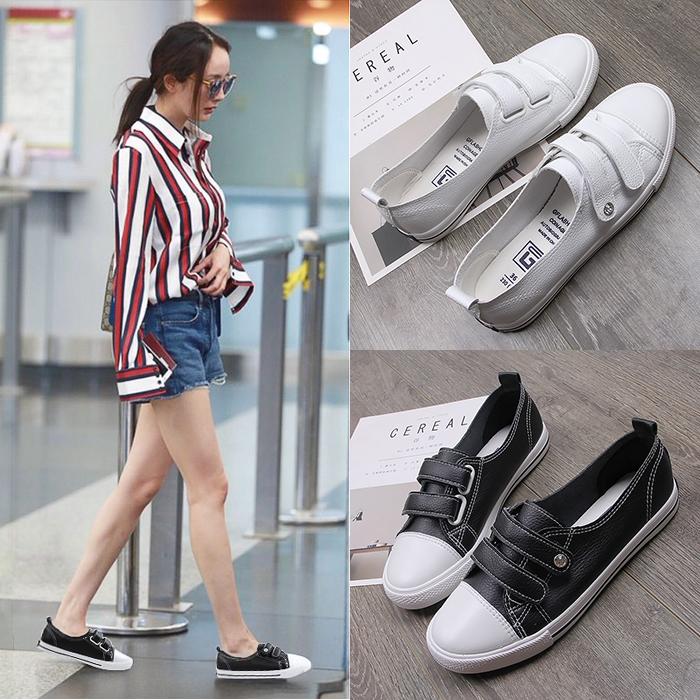 魔术贴小白鞋浅口单鞋百搭一脚蹬女鞋春季2018新款韩版休闲帆布鞋