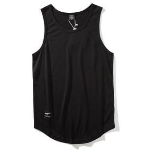 夏季歐美男生ins砍袖打底下襬背心男oversize嘻哈潮牌寬鬆無袖T恤