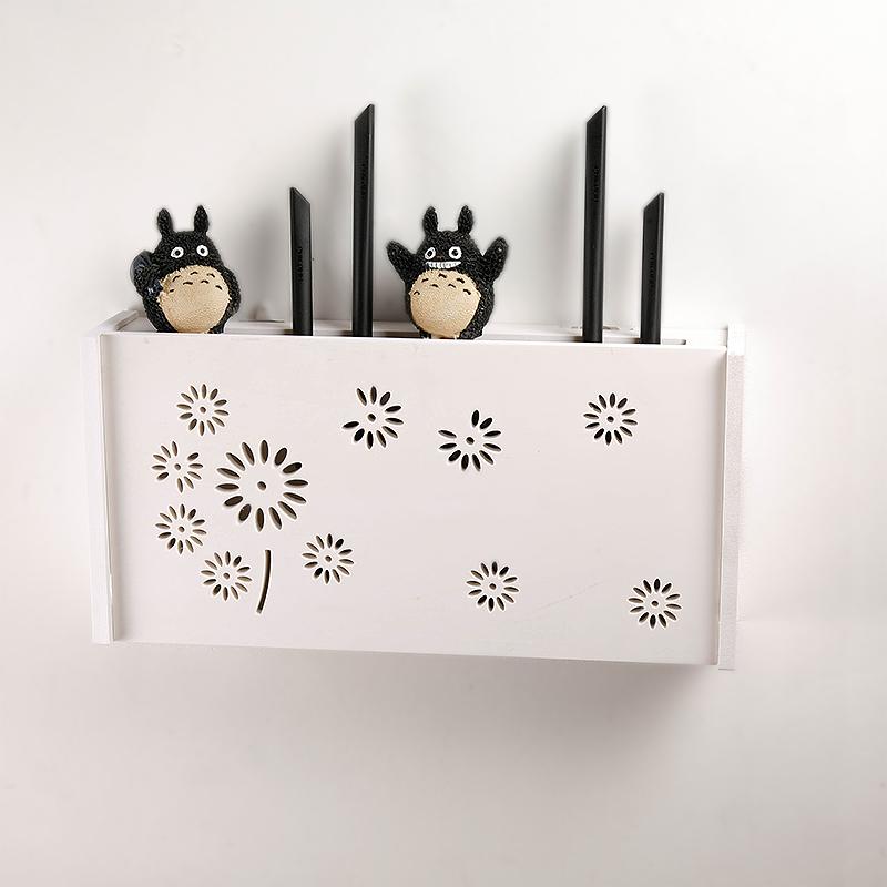 翻蓋路由器收納盒無線wifi排插集線盒客廳機頂盒壁掛免打孔