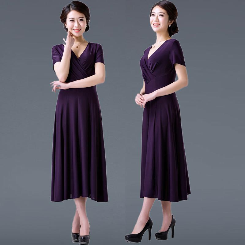 中老年女装短袖连衣裙夏装2017新款韩版大码修身妈妈装中长裙