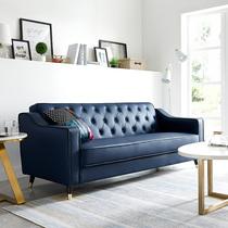 123欧式客厅组合整装家具皮艺沙发美式乡村实木真皮沙发头层牛皮
