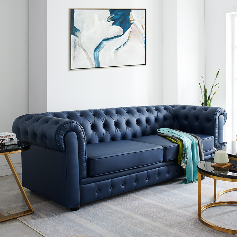 Light luxury sofa, American leather art sofa, living room combination, double three person small family sofa, modern high end furniture