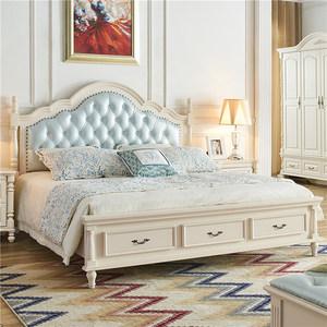 轻奢美式床实木床白色1.8米现代简约双人床高箱储物床欧式公主床