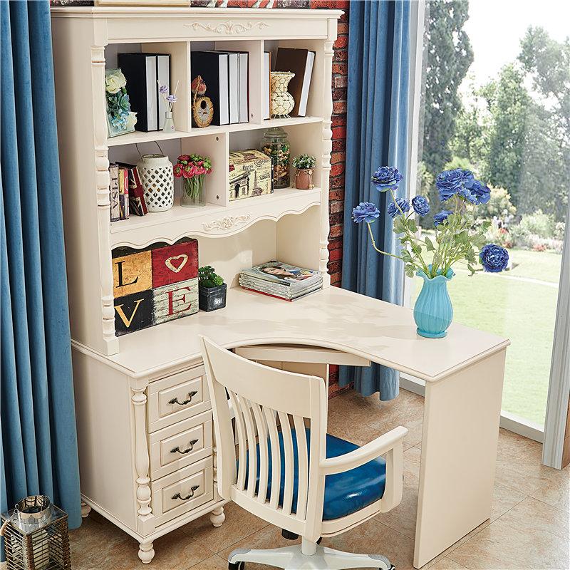 美式书桌书架组合简约电脑桌子实木家用台式学生转角书柜书桌一体
