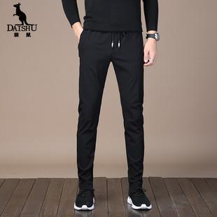 袋鼠秋季新款男士直筒修身休闲裤