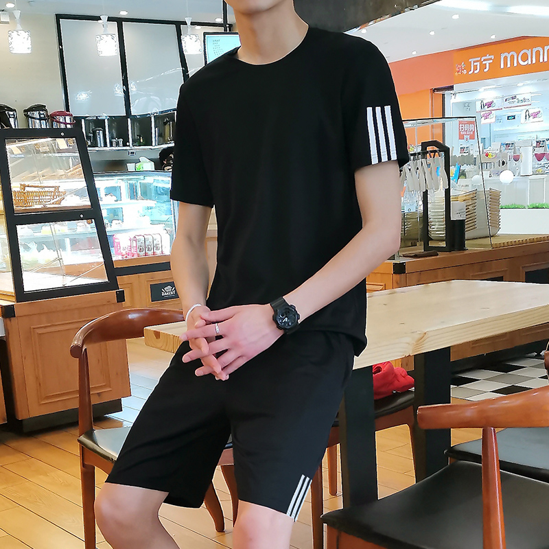Sports suit mens summer short sleeve shorts T-shirt quick drying clothes summer fitness running leisure sportswear large