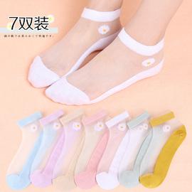 小雏菊袜子女短袜夏季浅口低帮棉底薄款玻璃丝袜透明水晶袜ins潮图片