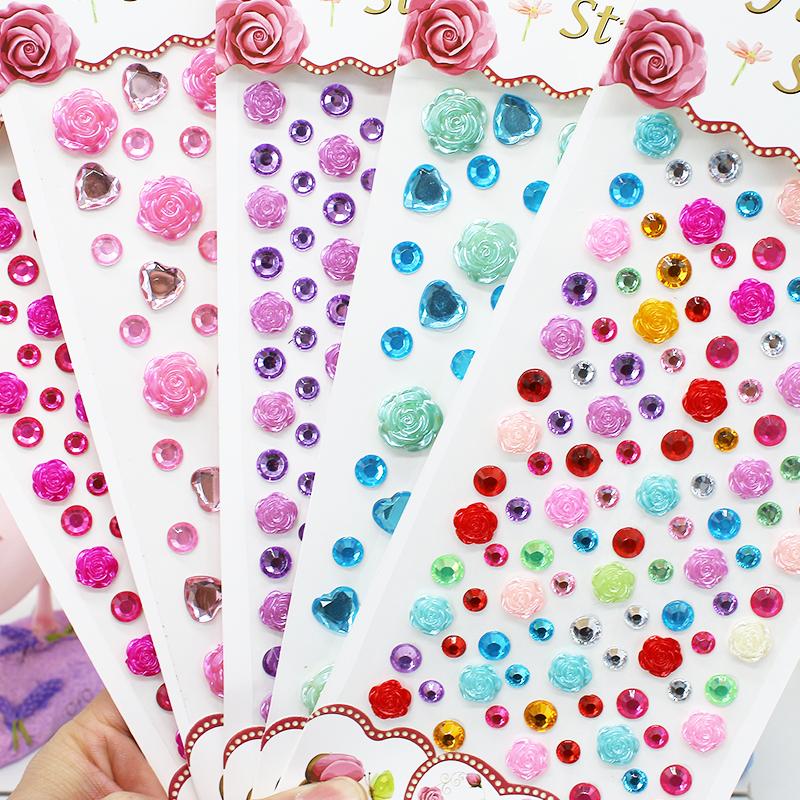 彩色亚克力宝石帖纸贴子玫瑰花儿童装饰手机壳钻贴水晶贴钻石贴纸