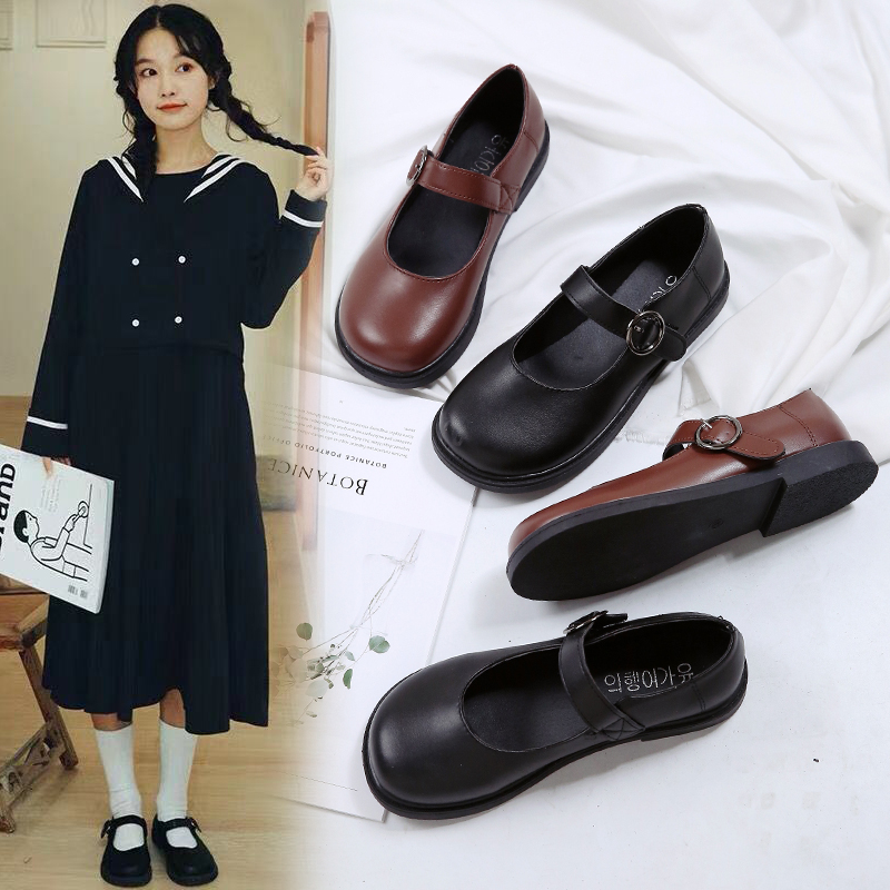 Japanese doll shoes womens New Retro round head college style buckle shoes Lolita single shoes in spring and autumn 2020