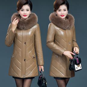 海宁皮衣女中长款冬季新款中老年真皮羽绒服大码加厚妈妈皮草外套