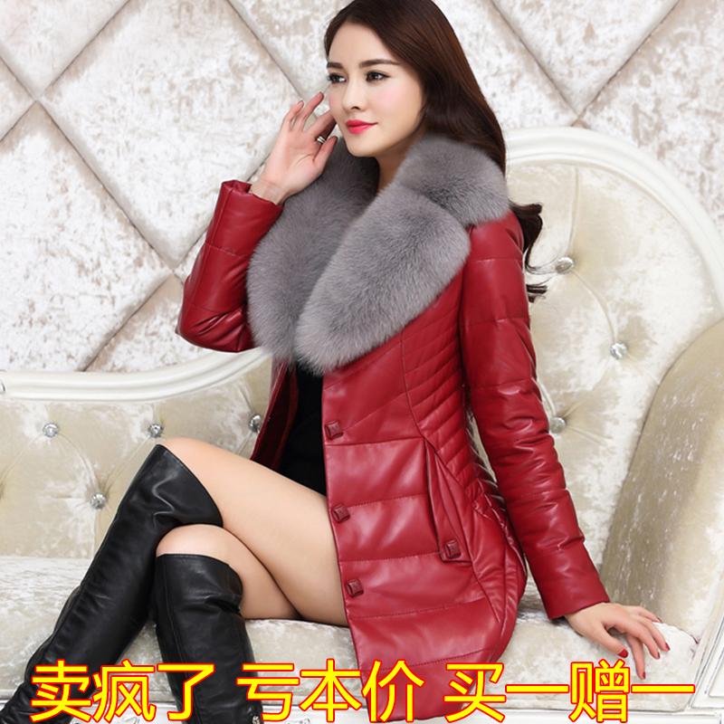 新款韩版修身显瘦皮衣棉外套加绒加厚2018海宁真皮羽绒服女中长款