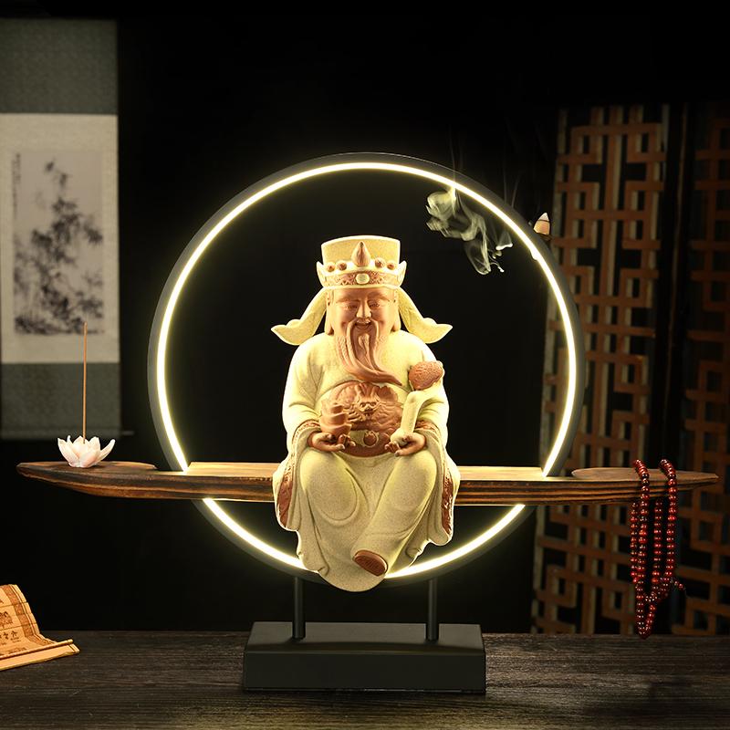 大号中式禅意陶瓷财神佛像家居饰品招财摆件倒流香带灯圈开业送礼