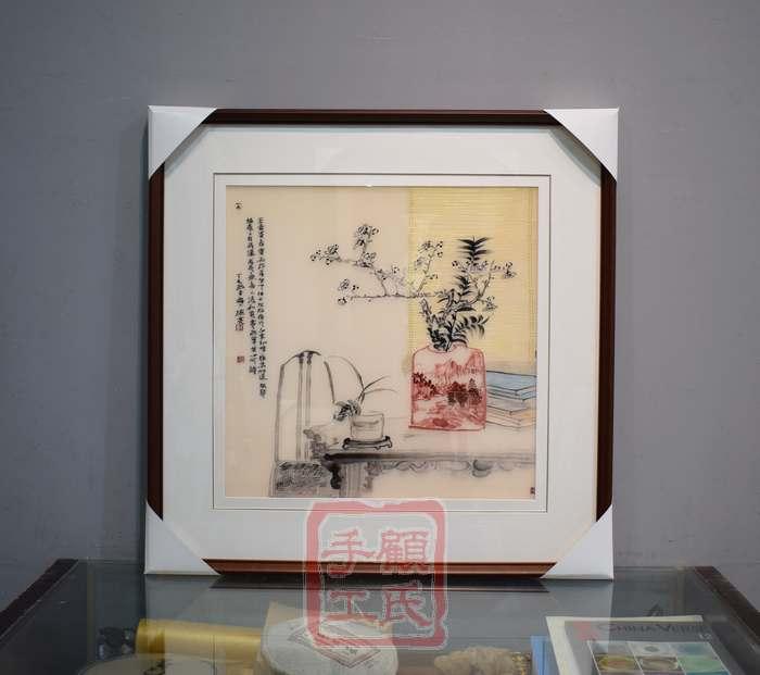 73*73顾氏苏绣静物书香,1-4丝雅致书香,简约风格