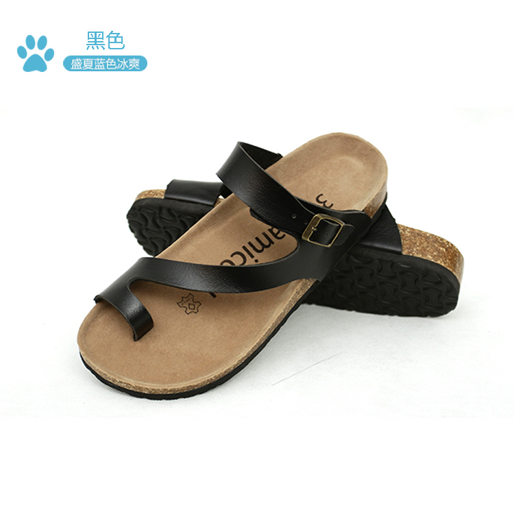 夏季时尚软木拖鞋大码防滑平底人字拖厚底套趾情侣沙滩鞋女士凉鞋