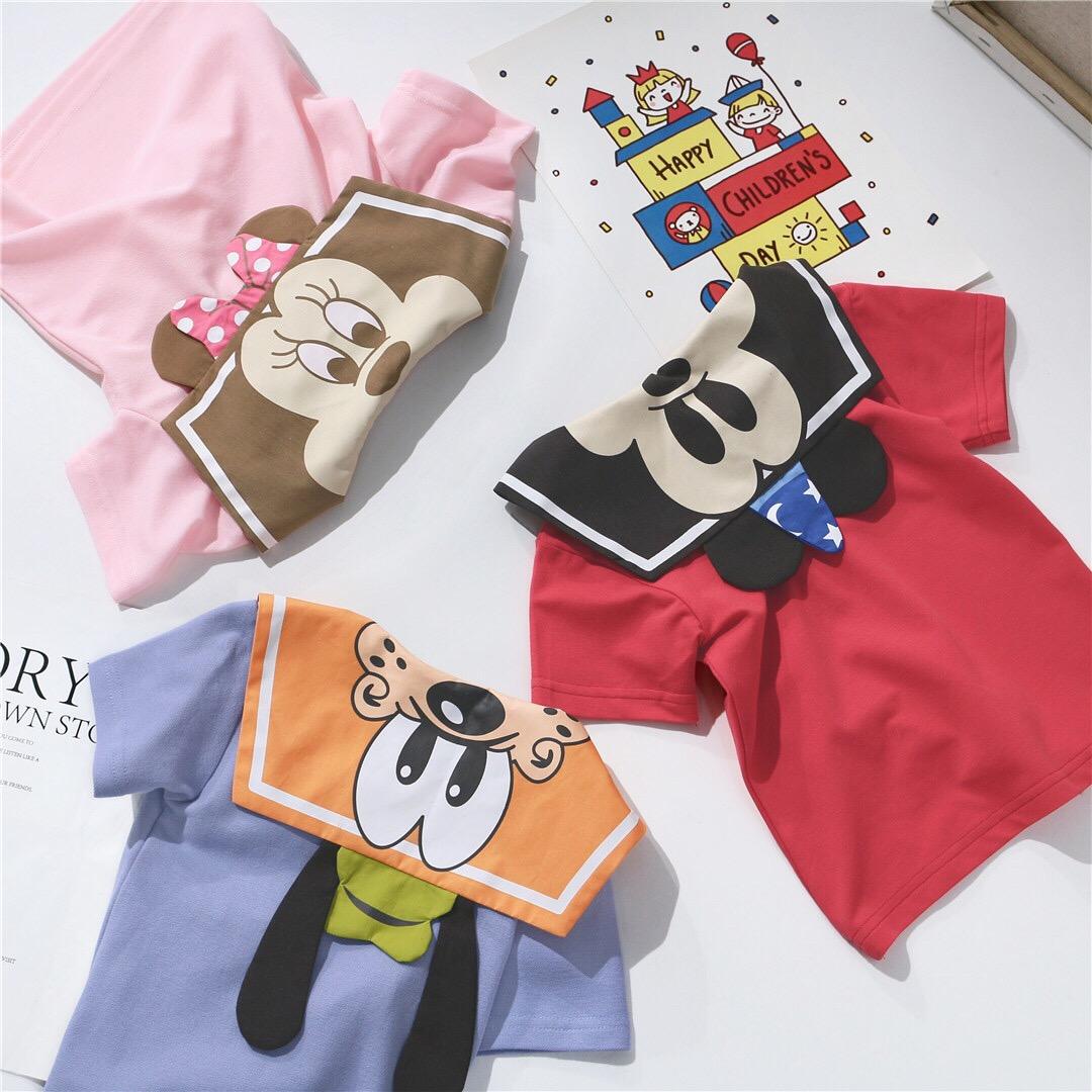 卡通可爱海军风儿童短袖T恤纯棉ins童装男童女童宝宝夏季上衣洋气