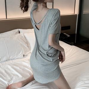 性感露背睡裙女夏季短袖纯棉韩版莫代尔宽松灰色睡衣家居服可外穿