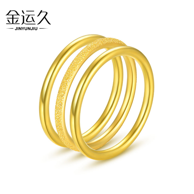 3D Hard Gold Gold Sansheng III Ring 999 Pure Gold Simple and Thin Glossy Ring Frosted Ring Pair Ring