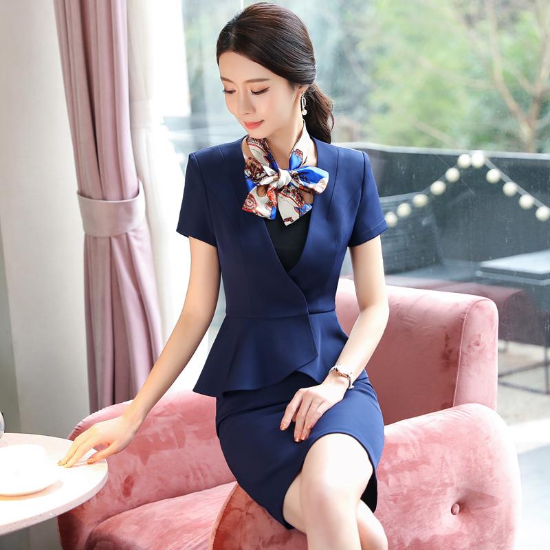 酒店工作服夏季短袖女前台经理工装收银员服务员空姐制服职业套装