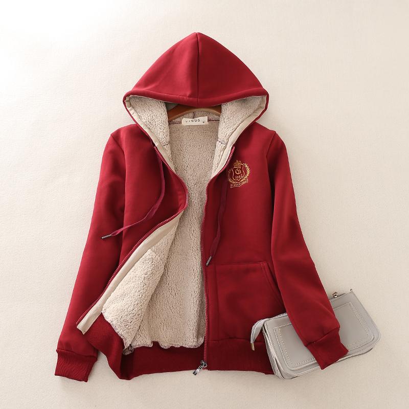 秋冬款加绒加厚卫衣羊羔绒拉链开衫女大码连帽保暖运动服休闲外套图片