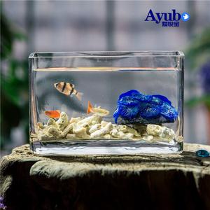 玻璃鱼缸长方形创意水族箱迷你客厅小型桌面观赏造景家用懒人鱼缸