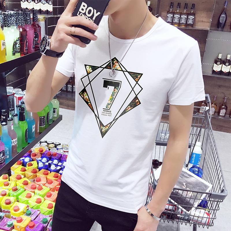 夏季男士T恤男短袖百搭修身体恤情侣半袖白丅衣服 男装打底衫潮流