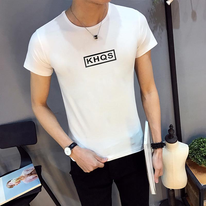 夏季男士圆领短袖T恤字母印花白色青少年潮男装半袖上衣服打底衫