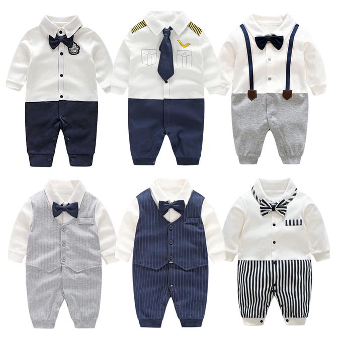 生儿婴儿衣服秋装 满月百天百岁宴宝宝周岁礼服男连体衣春秋外出 新