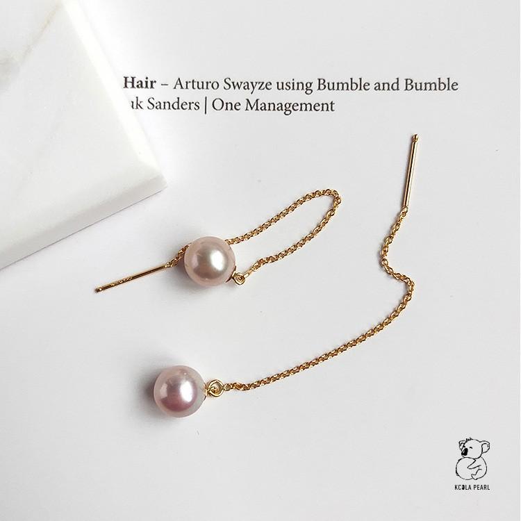 考拉家精品正圆强光淡水珍珠长款耳线耳环耳坠金色复古流苏耳饰女