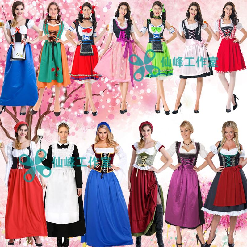 德国啤酒节服装万圣节情侣男啤酒服狂欢派对酒吧DS服 女佣女仆装
