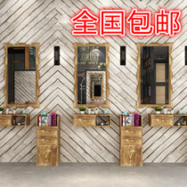 Solid wood retro Barber shop mirror hairdresser Mirror Table makeup single-sided frame hair fitting mirror hanging mirror landing