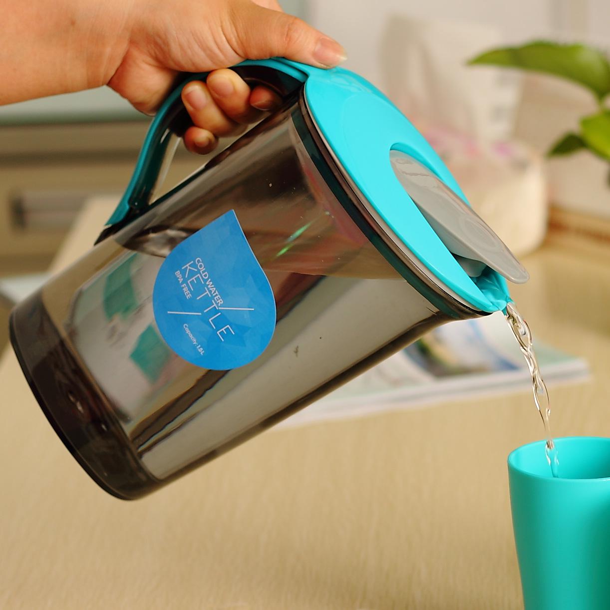 貝合塑料涼水壺冷水壺套裝大容量豆漿果汁花茶壺帶蓋水杯水具套裝