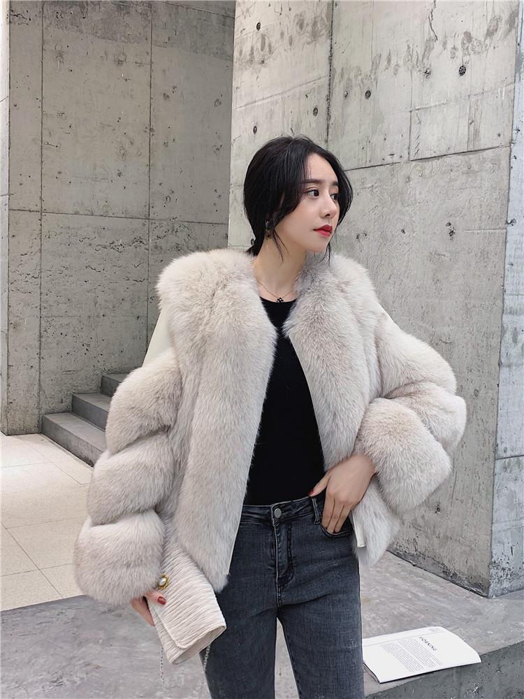 2020秋冬新款海宁进口整皮狐狸毛皮草短款女外套时尚裘皮大衣显瘦