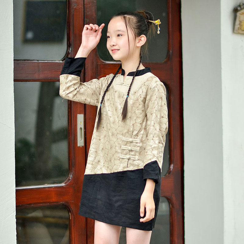 Patomus: Chinese style improved retro style parents and children autumn long sleeve top childrens button top color matching shirt