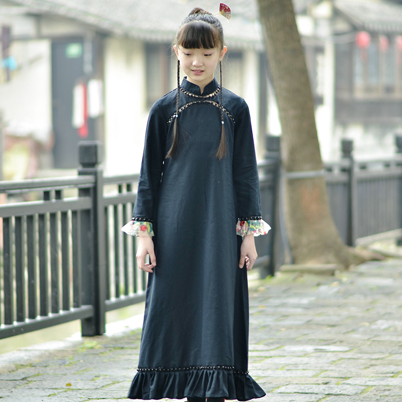 Patomus: Chinese style spring and autumn parent child long dress with hollow bead long cotton and hemp Qipao skirt