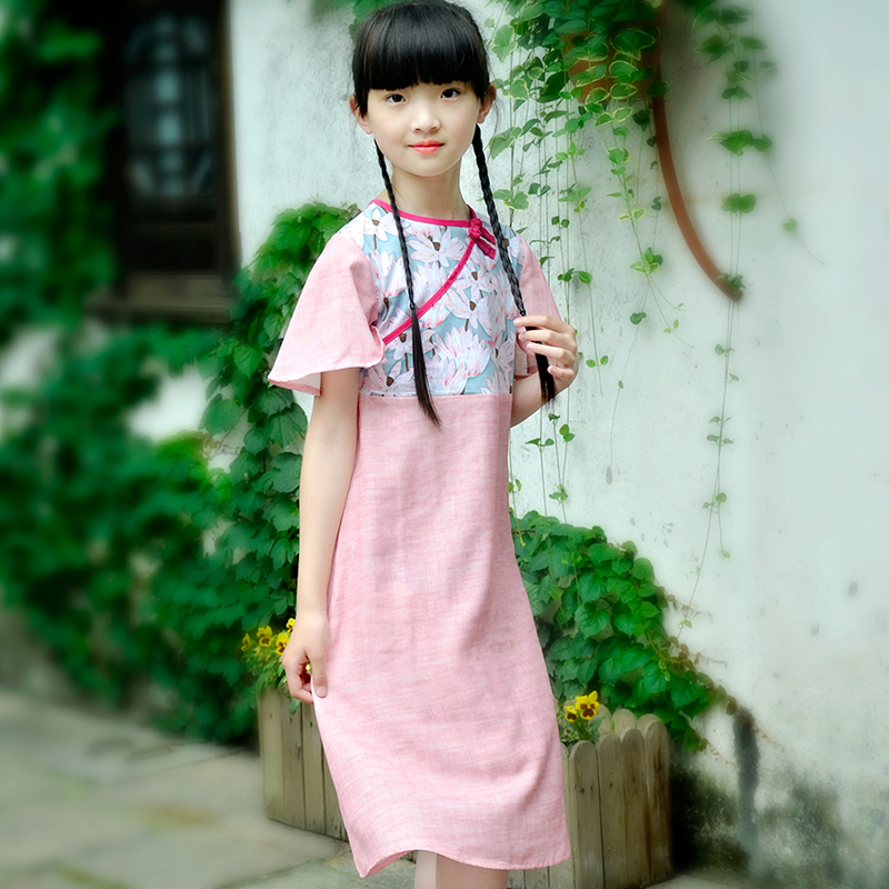 Patty mouse: Chinese style literature and art parent child skirt summer girls long skirt lotus leaf sleeve lotus print dress