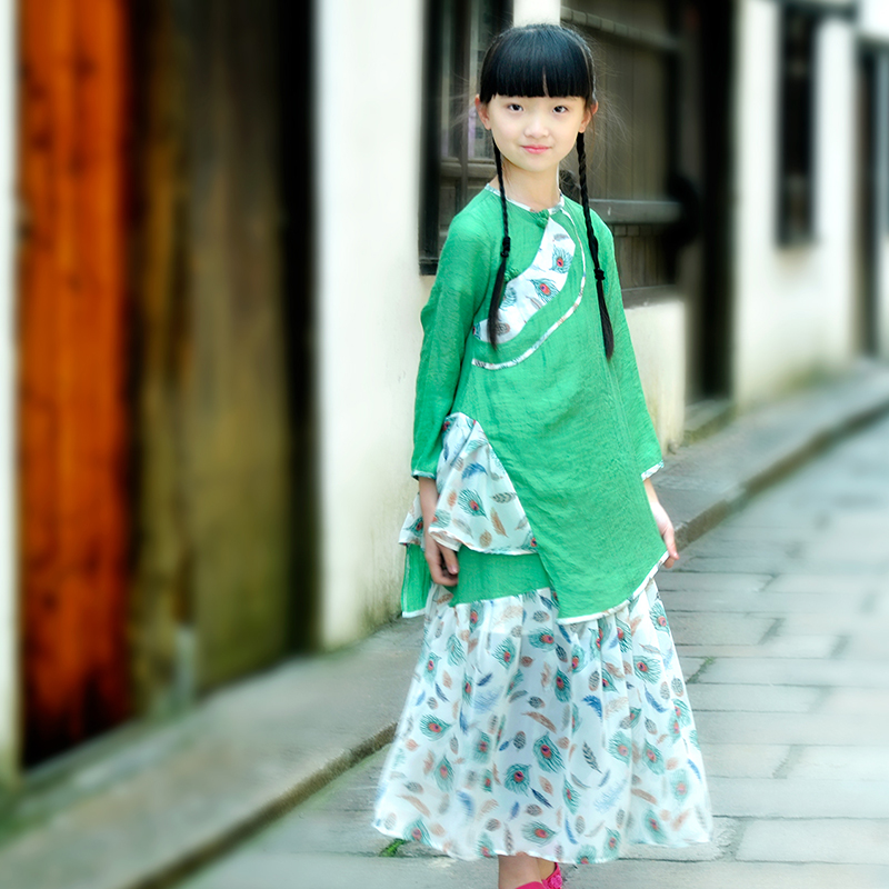 Babbitt: Childrens clothing Girls Summer peacock unequal top skirt Chinese suit thin parent-child clothes