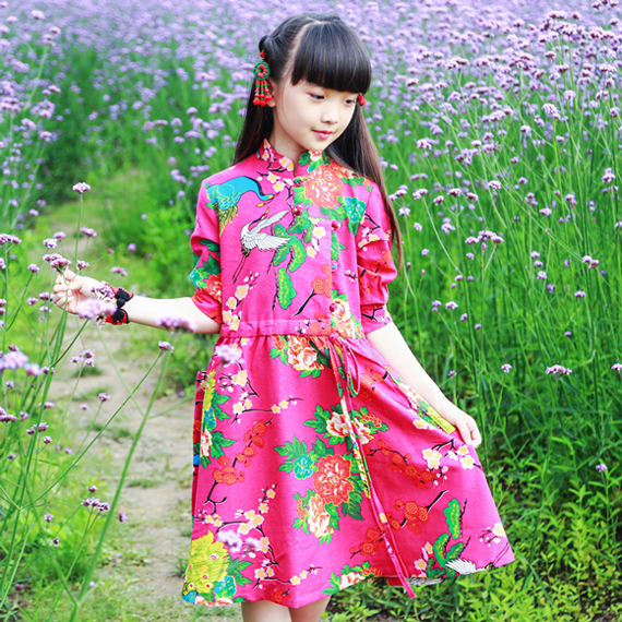Ethnic childrens wear and parent childs wear - Chinese style improved spring and autumn cotton hemp printed floral dress lace up dress
