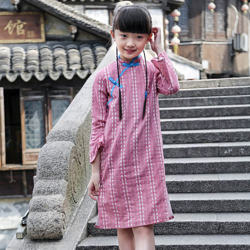 Cotton and hemp spring and autumn clothing literature and art elegant jacquard clip inside cheongsam trumpet sleeve Tang Chinese dress skirt