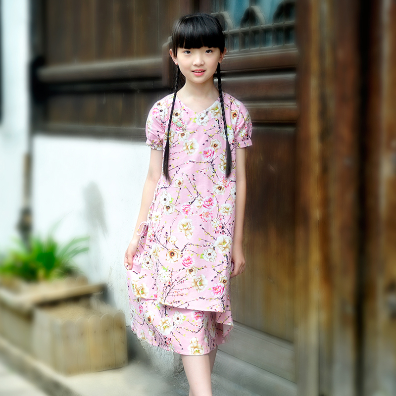 Original ethnic style parent-child dress girls floral summer skirt with small peony lace up dress