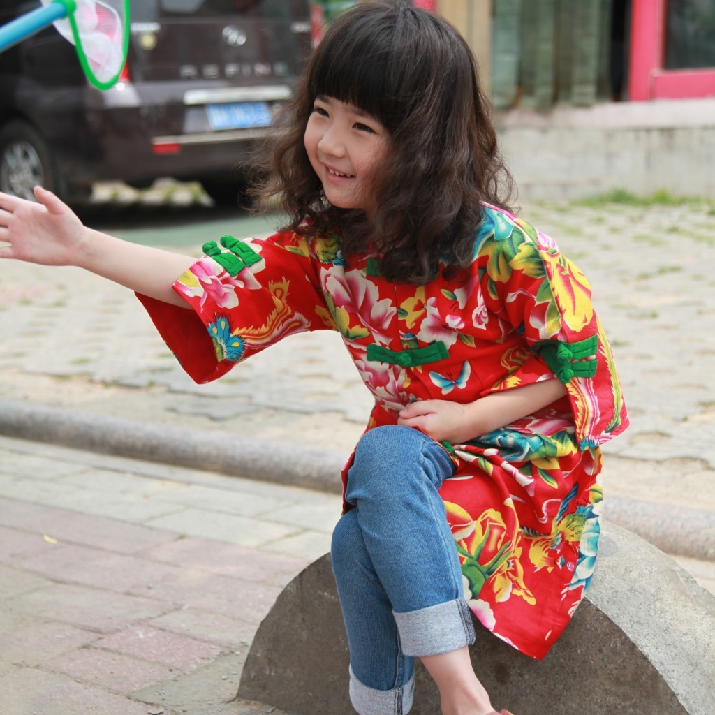 Patou mouse: Original Chinese national style girls long jacket, manual buckle jacket, Tang childrens wear