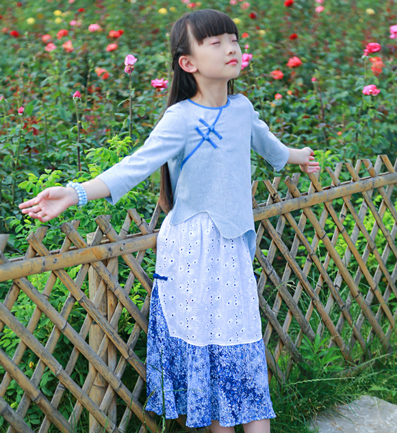 Patou mouse: national style original Ruffle edge Chinese style button top Chiffon pleated skirt spring and autumn suit parent-child suit