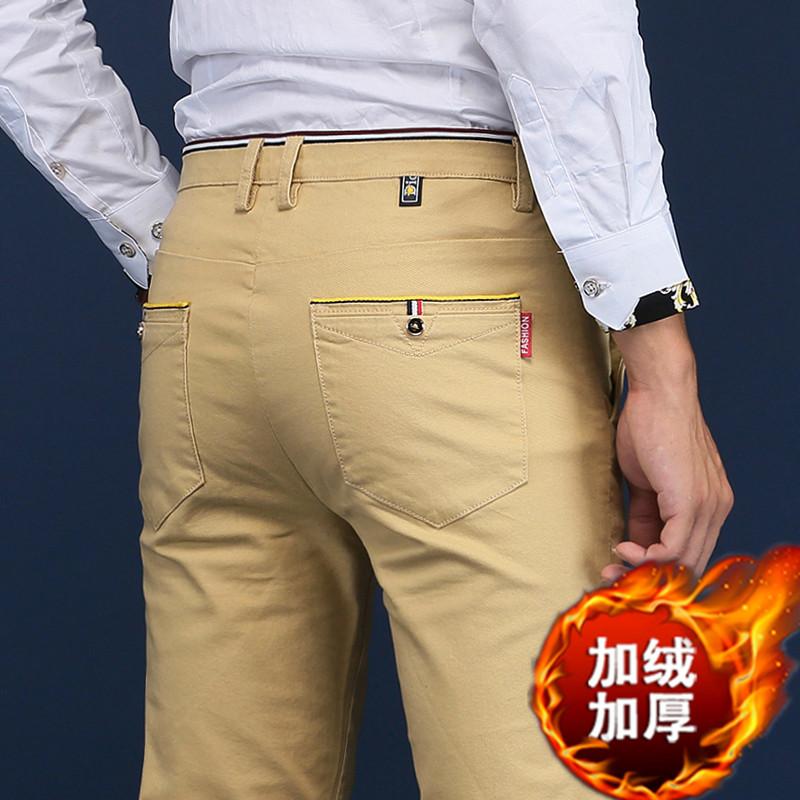 加绒裤子男秋冬男裤加绒加厚百搭长裤男韩版宽松西裤男士休闲裤潮