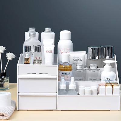 抽屉式化妆品收纳盒便携大号宿舍化妆盒护肤桌面梳妆台塑料大容量