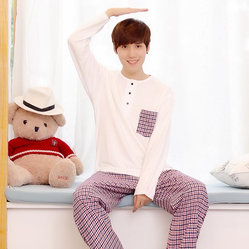 春季男士纯棉长袖睡衣套装