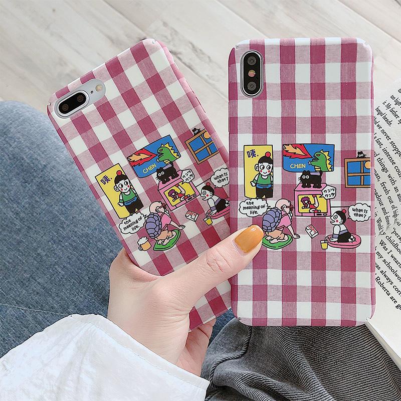 热销10件限时抢购卡通格子纹oppok3手机壳女款r9/r15/r11s plus磨砂k1硬壳a5