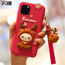 苹果11手机壳红色麋鹿新年款iphonex女卡通x网红圣诞风11promax硅胶软壳xsmax可爱大红色软胶xr全包防摔女款