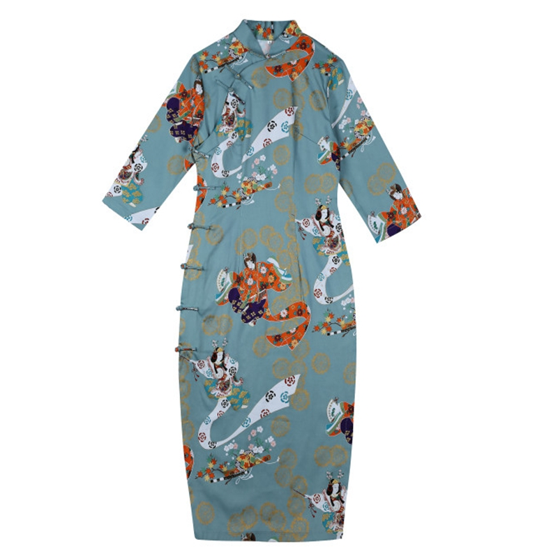 Old Shanghai cheongsam middle long girl student young elegant Pure Cotton Retro celebrity small fragrance Chinese style