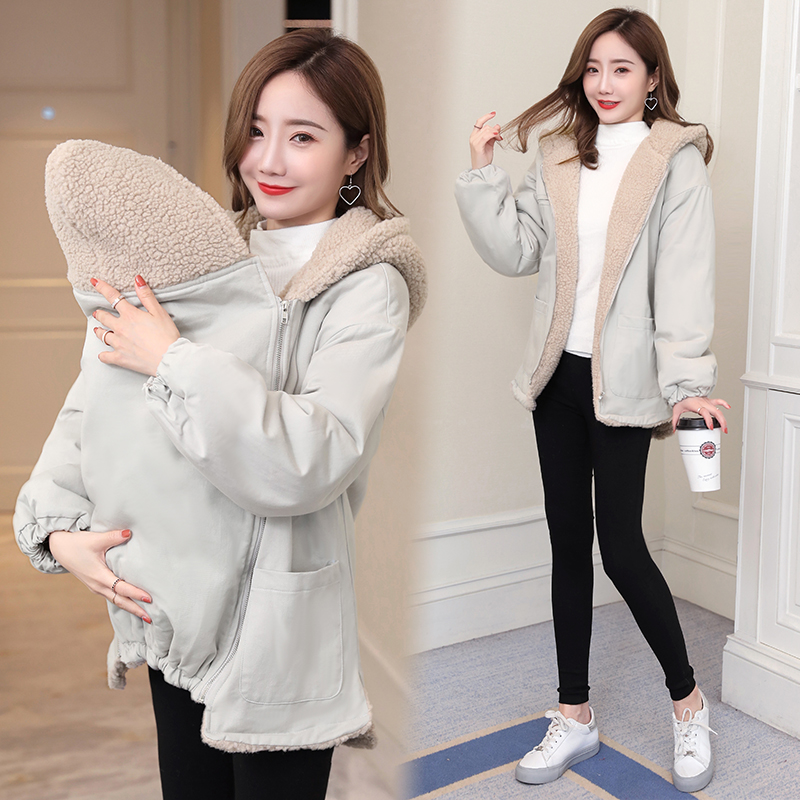 Autumn and winter pregnant womens coat fashionable going out sweater baby holding coat Korean version baby carrying mother and son kangaroo suit thickened